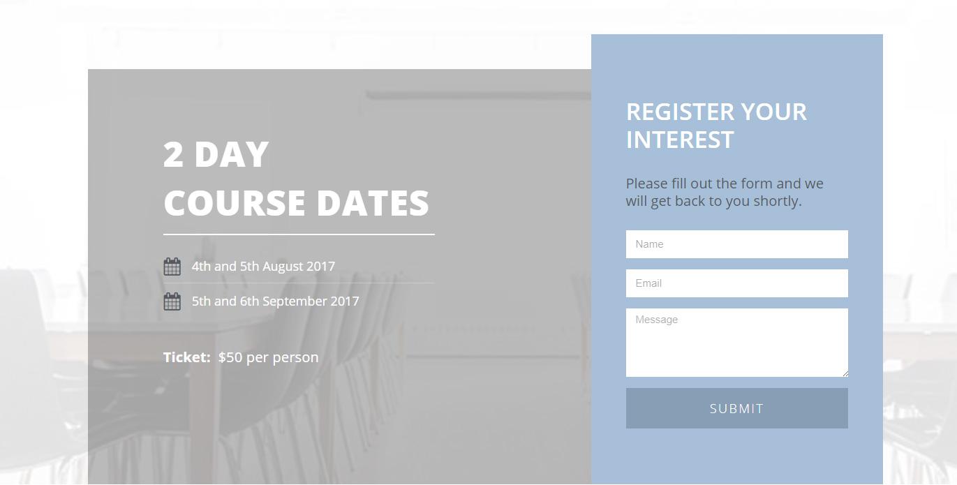 Elementor Template – Course Dates – Interest Form – Baker
