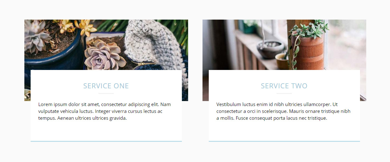Elementor Template – Text overlap photo boxes – Baker Web